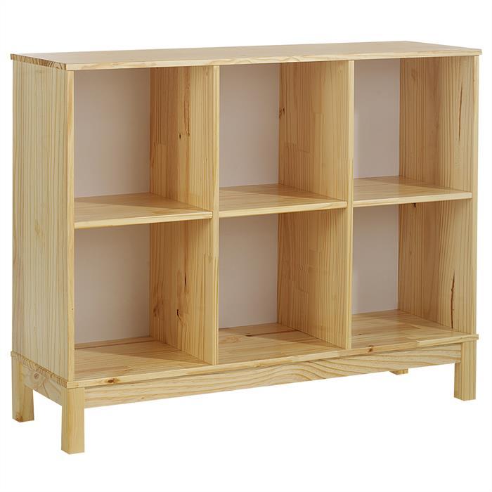 Etagère 3 x 2 casiers en pin LOGO, vernis naturel