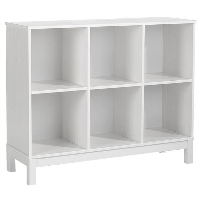 Etagère 3 x 2 casiers en pin LOGO, lasuré blanc