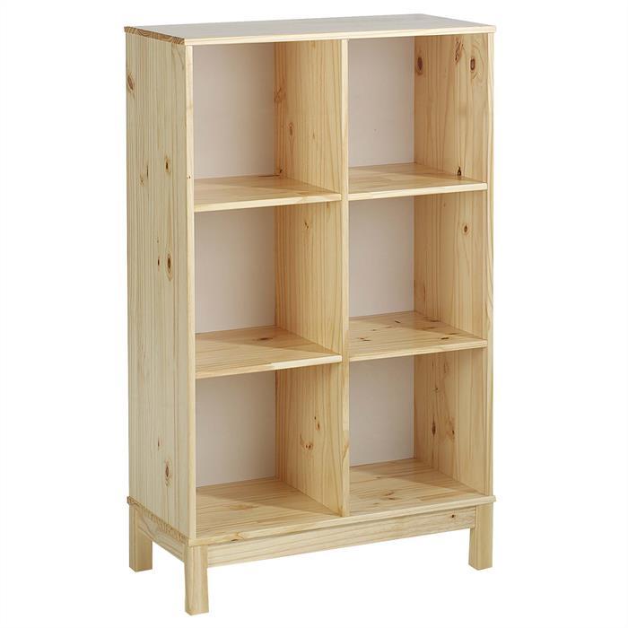 Etagère 2 x 3 casiers en pin LOGO, vernis naturel