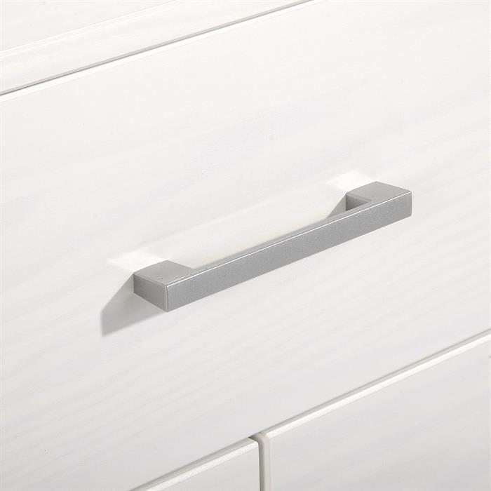 Table de chevet en pin TESSA, 3 tiroirs, lasuré blanc