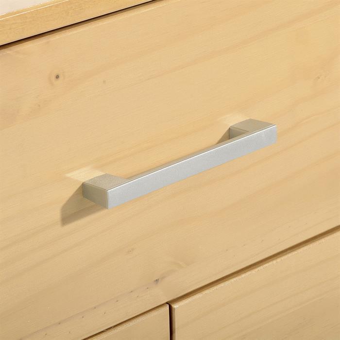 Table de chevet en pin TESSA, 3 tiroirs, lasuré couleur hêtre