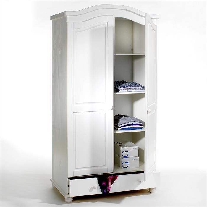 armoire en pin bergen lasur blanc mobil meubles. Black Bedroom Furniture Sets. Home Design Ideas