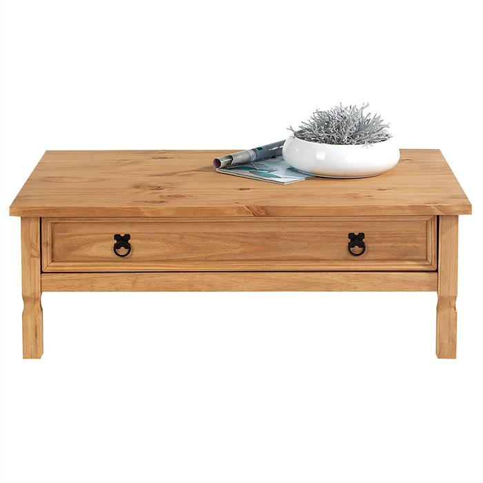 Table basse en pin TEQUILA style mexicain, avec 1 tiroir, finition teintée/cirée