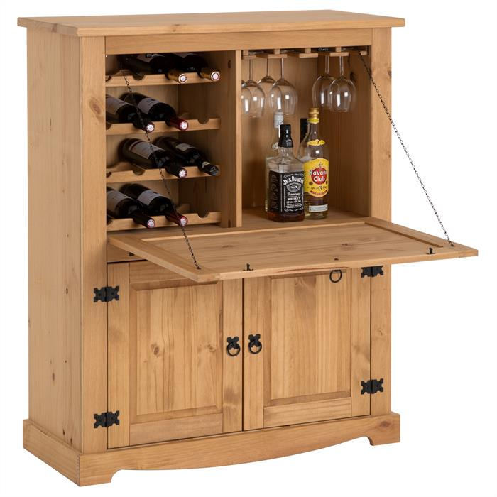 meuble bar vin en pin tequila style mexicain finition cir e mobil meubles. Black Bedroom Furniture Sets. Home Design Ideas