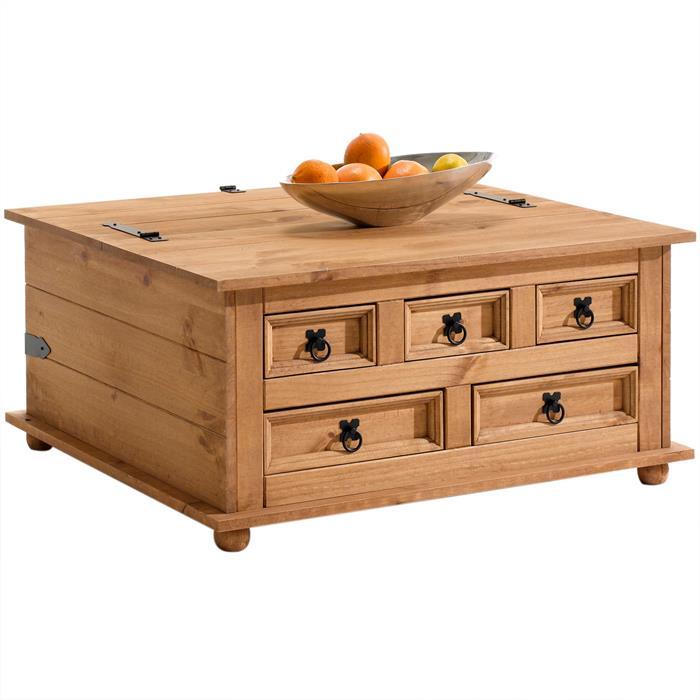 Table basse coffre en pin TEQUILA style mexicain, avec 5 tiroirs, finition teintée/cirée