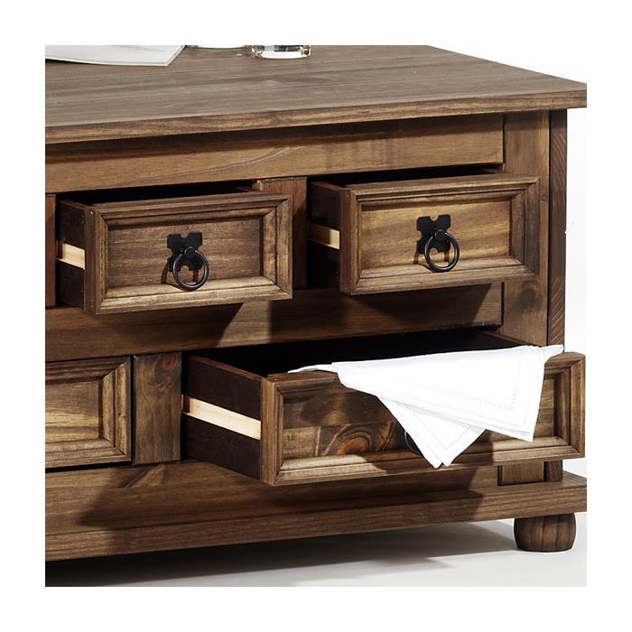 Table basse coffre en pin TEQUILA style mexicain, avec 5 tiroirs, lasuré brun