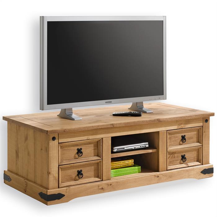 Meuble TV en pin TEQUILA style mexicain, finition cirée