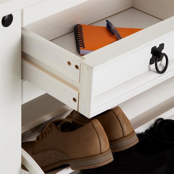 Meuble à chaussures en pin TEQUILA style mexicain, 2 abattants et 2 tiroirs, lasuré blanc