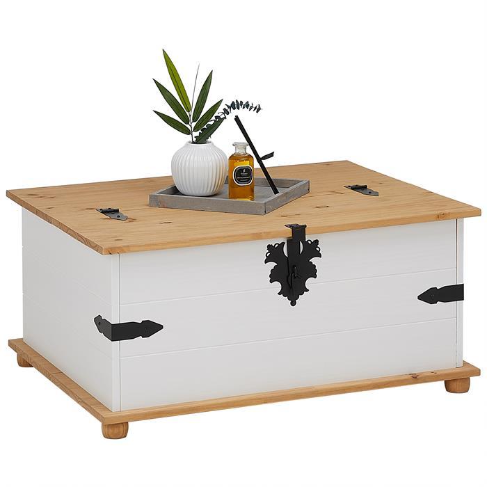 Table basse coffre en pin TEQUILA style mexicain, avec 5 tiroirs, lasuré blanc et brun
