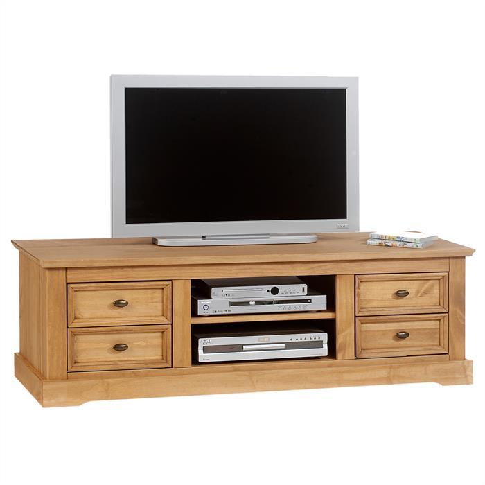 Meuble tv en pin kent finition cir e mobil meubles for Meuble tv en pin