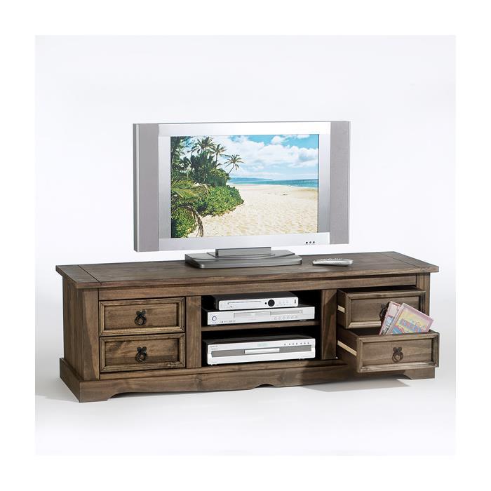 meuble tv en pin tequila style mexicain lasur marron. Black Bedroom Furniture Sets. Home Design Ideas