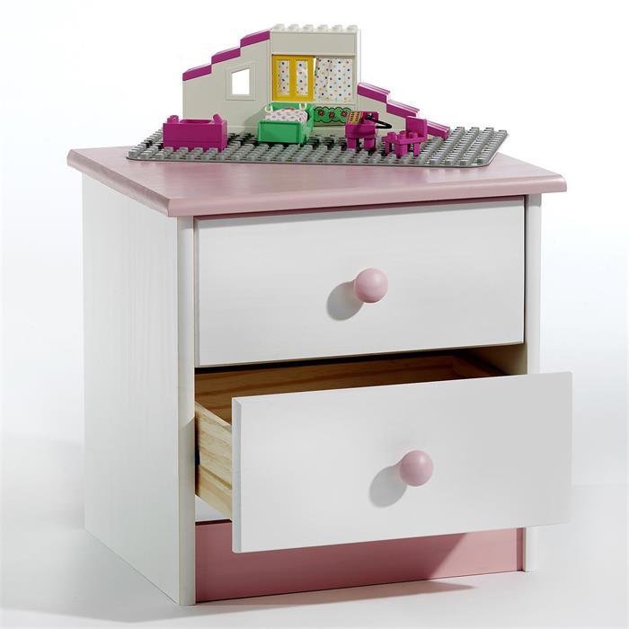 Table de chevet en pin RONDO 2 tiroirs, lasuré blanc/rose