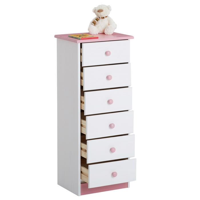 Chiffonnier en pin RONDO, 6 tiroirs, lasuré blanc et rose