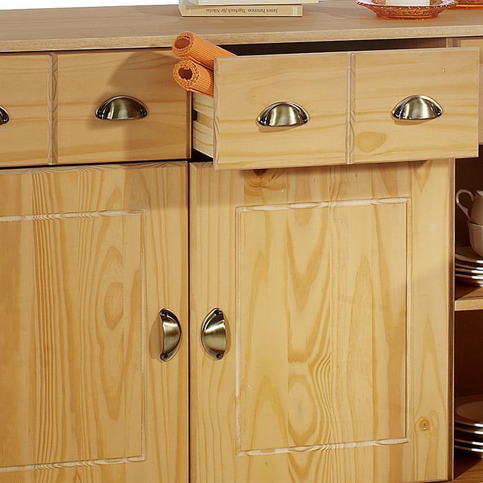 Buffet COLMAR en pin massif, 3 tiroirs et 3 portes, finition cirée