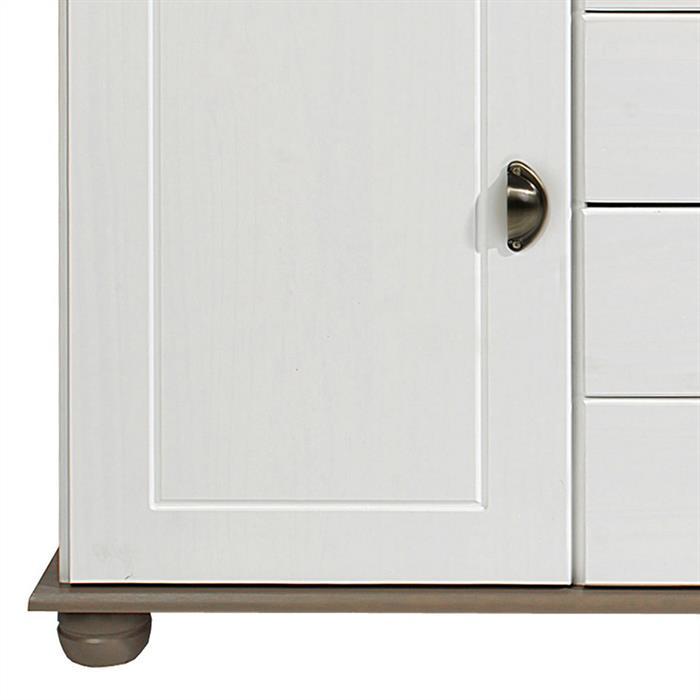 Buffet COLMAR en pin massif, 4 tiroirs et 2 portes, lasuré blanc et taupe