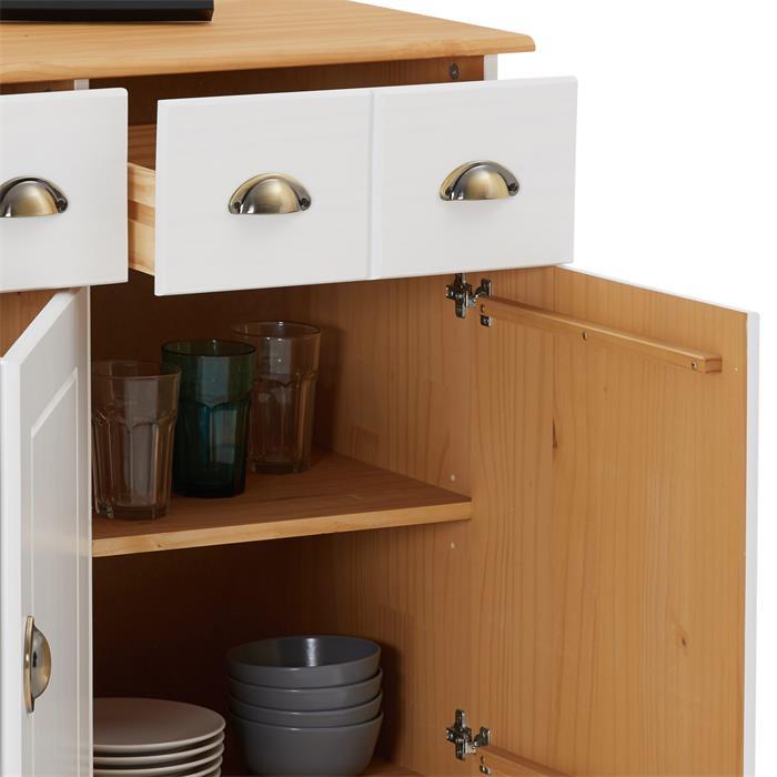 Buffet COLMAR en pin massif, 3 tiroirs et 3 portes, lasuré blanc et brun