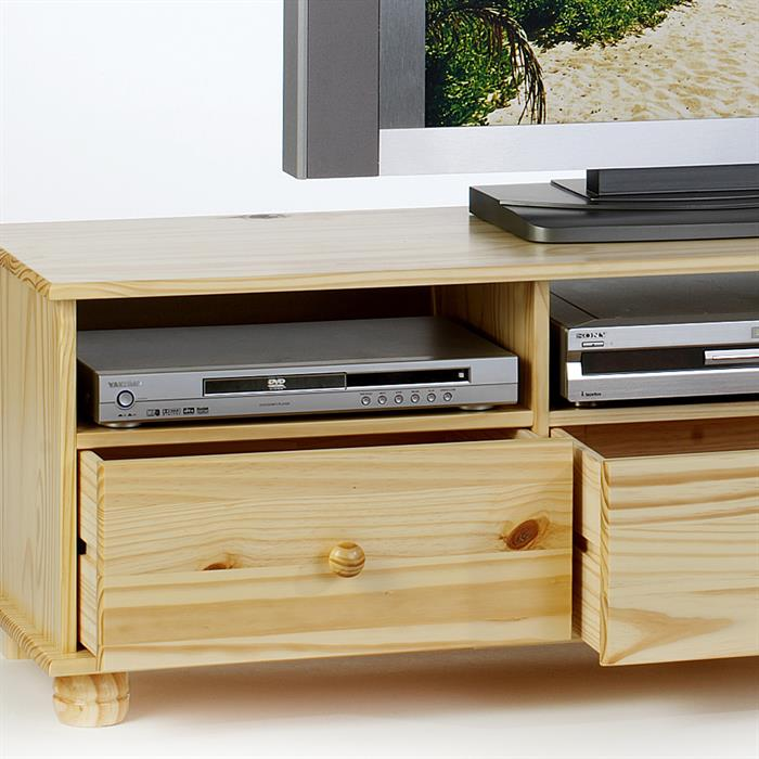 meuble tv en pin bern 3 tiroirs 3 niches vernis naturel mobil meubles. Black Bedroom Furniture Sets. Home Design Ideas