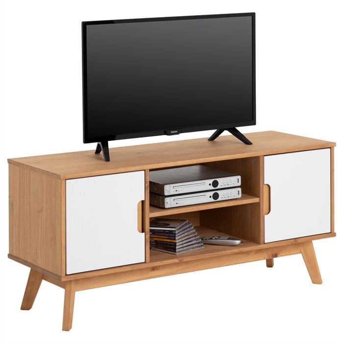 Meuble TV TIVOLI, 2 portes et 2 niches, finition teintée et lasuré blanc