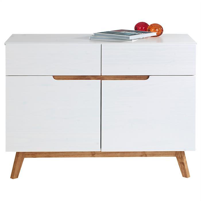 Buffet TIBOR, 2 tiroirs et 2 portes, lasuré blanc
