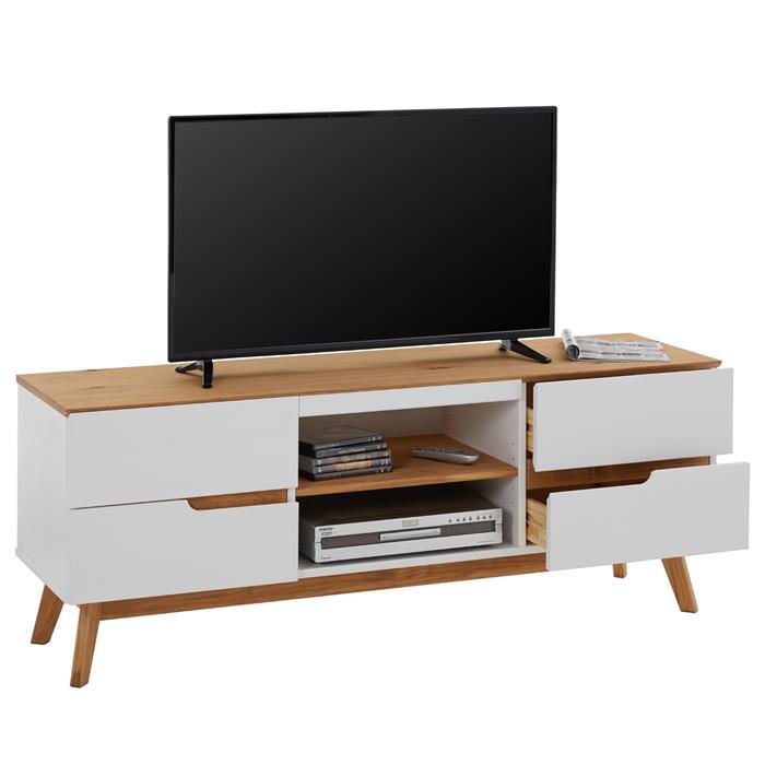 Meuble TV TIBOR, 4 tiroirs et 2 niches, lasuré blanc