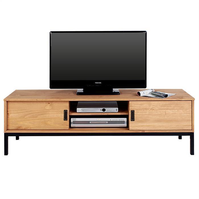 Meuble TV SELMA, 2 portes coulissantes, teinté brun clair