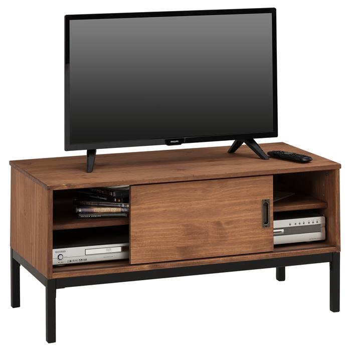 Meuble TV SELMA, 1 porte coulissante, teinté brun foncé