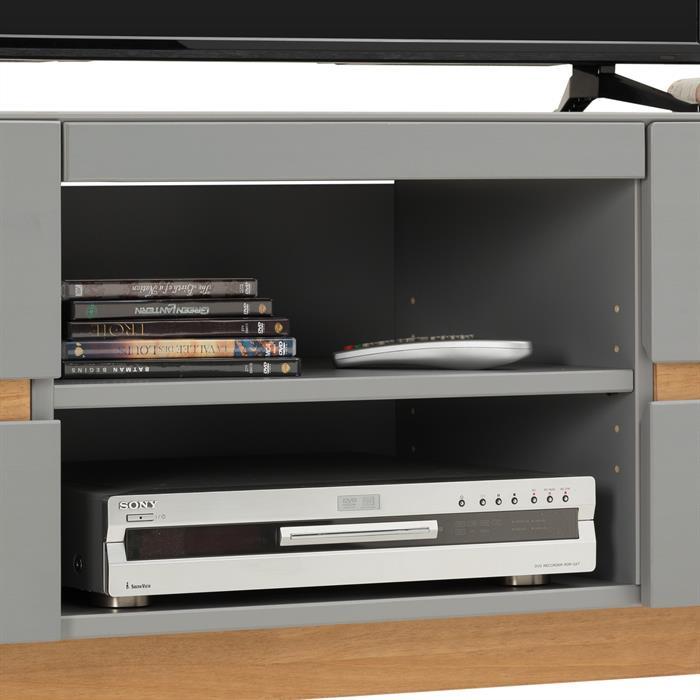 Meuble TV TIBOR, 4 tiroirs et 2 niches, lasuré gris