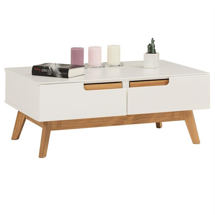 Table basse TIBOR, 2 tiroirs et 2 niches, lasuré blanc