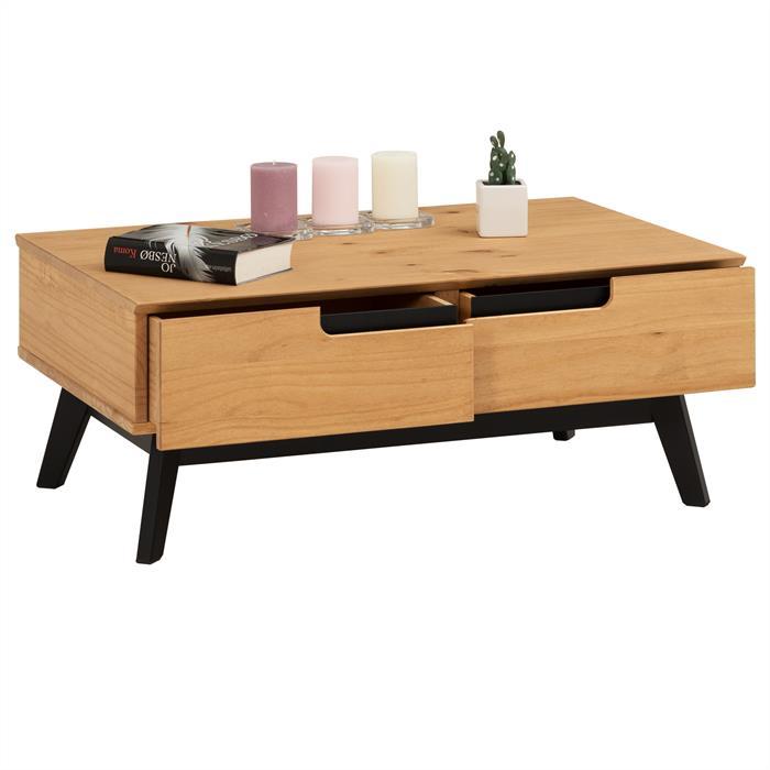 Table basse TIBOR, 2 tiroirs et 2 niches, finition bois teinté