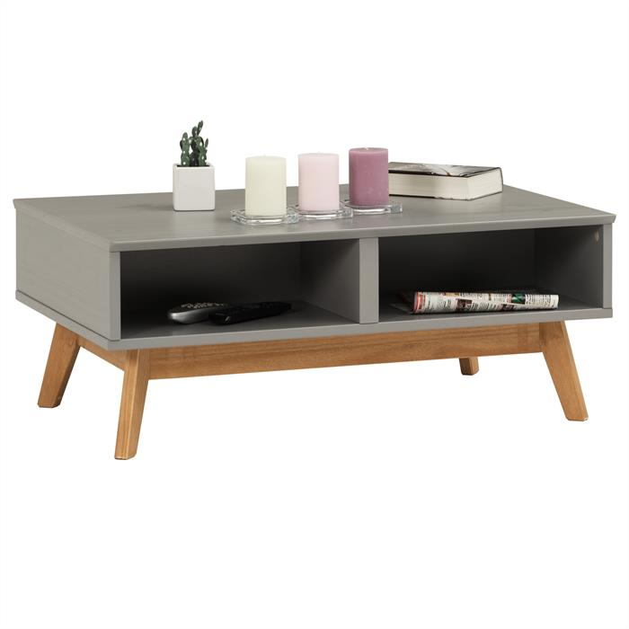 Table basse TIBOR, 2 tiroirs et 2 niches, lasuré gris