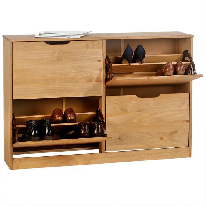 Meuble à chaussures en pin BASIL, 2x2 abattants, lasuré couleur miel