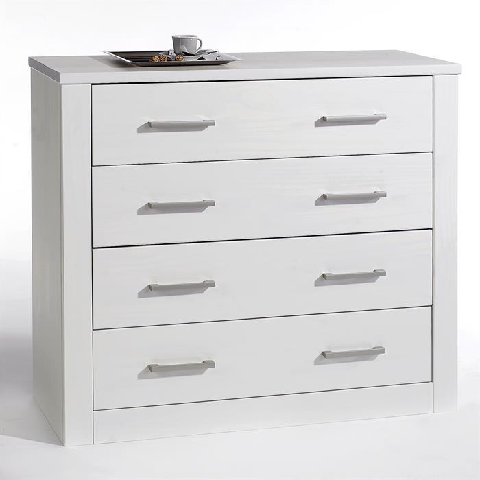 commode en pin tenno 4 tiroirs lasur blanc mobil. Black Bedroom Furniture Sets. Home Design Ideas