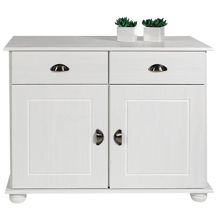 Buffet COLMAR en pin massif, 2 tiroirs et 2 portes, lasuré blanc