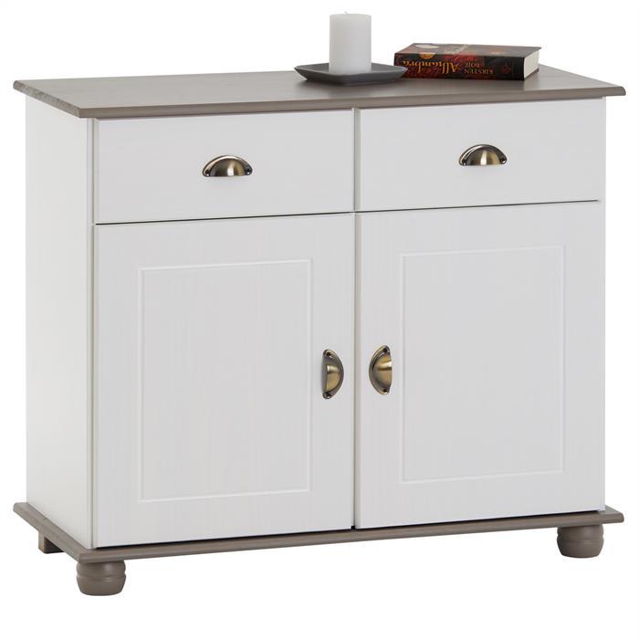 Buffet COLMAR en pin massif, 2 tiroirs et 2 portes, lasuré blanc et taupe