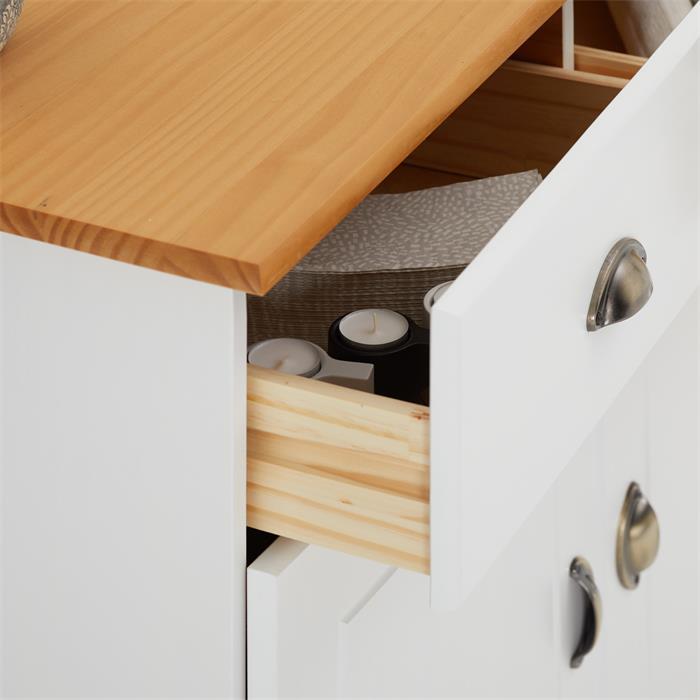 Buffet COLMAR en pin massif, 2 tiroirs et 2 portes, lasuré blanc et brun