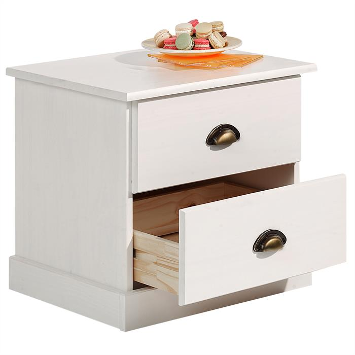 Table de chevet PARIS en pin massif, 2 tiroirs, lasuré blanc