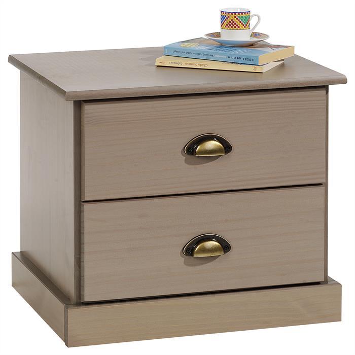 Table de chevet paris en pin massif 2 tiroirs lasur taupe mobil meubles - Table de chevet en pin massif ...