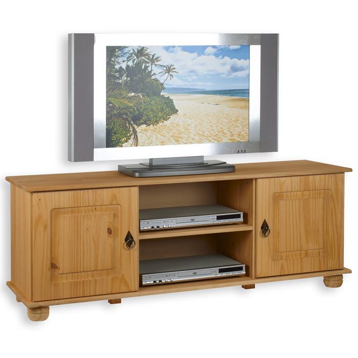 Meuble TV en pin BELFORT, 2 portes + 2 niches, finition teintée/cirée