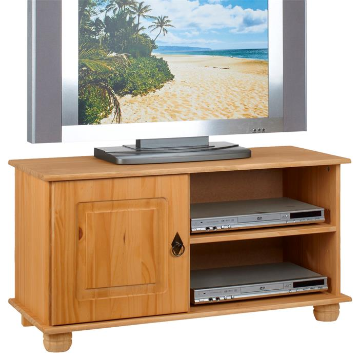 Meuble TV en pin BELFORT, 1 porte + 2 niches, finition cirée