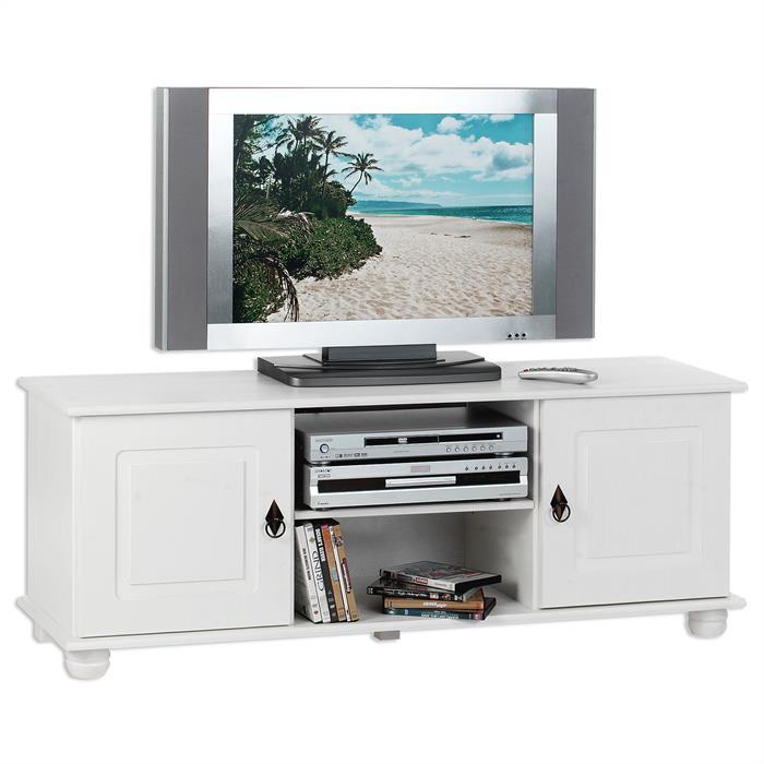 Meuble TV en pin BELFORT, 2 portes + 2 niches, lasuré blanc