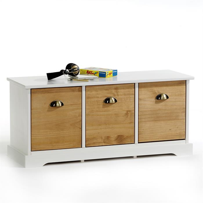 banc en pin nancy 3 tiroirs lasur blanc brun mobil meubles. Black Bedroom Furniture Sets. Home Design Ideas