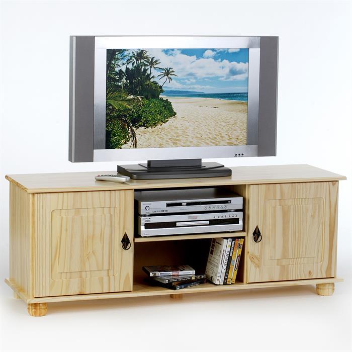 Meuble tv en pin belfort 2 portes 2 niches vernis for Meubles en pin naturel