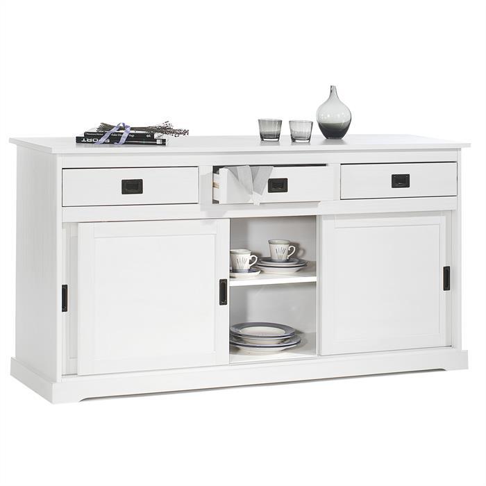 Buffet SAVONA en pin massif, 3 tiroirs et 3 portes, lasuré blanc