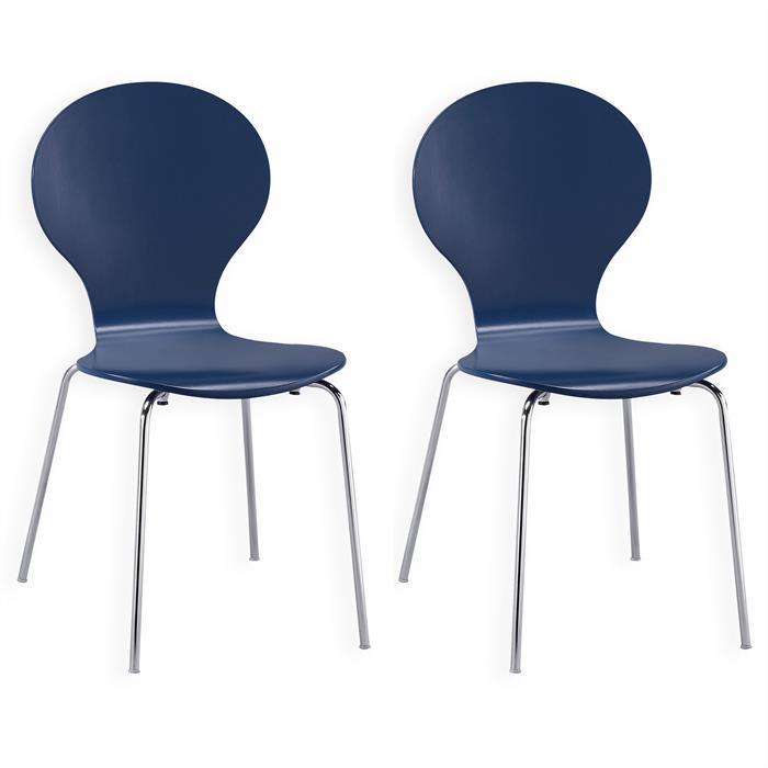 Lot de 2 chaises empilables MAUI, coloris bleu