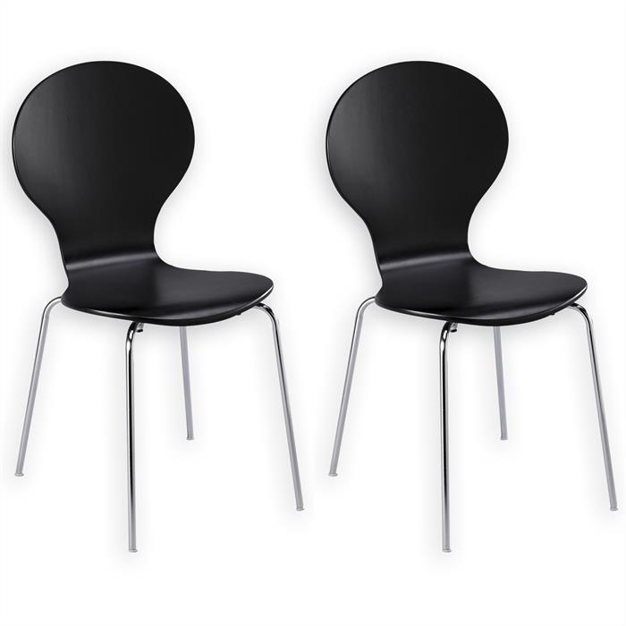 Lot de 2 chaises empilables MAUI, coloris noir