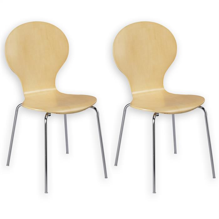 Lot de 2 chaises empilables MAUI, bouleau