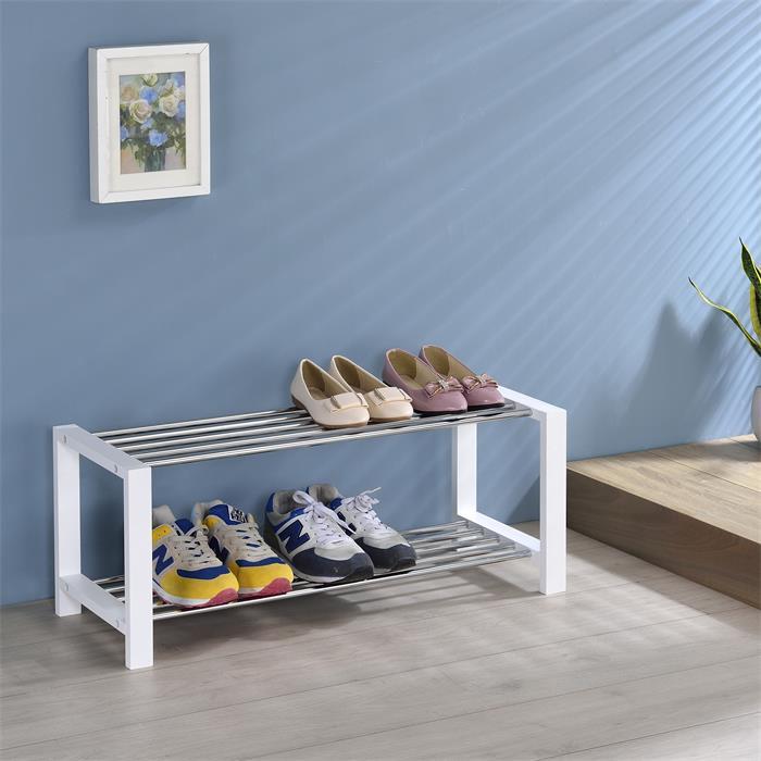 Etagère à chaussures ARINA, 2 tablettes, blanc