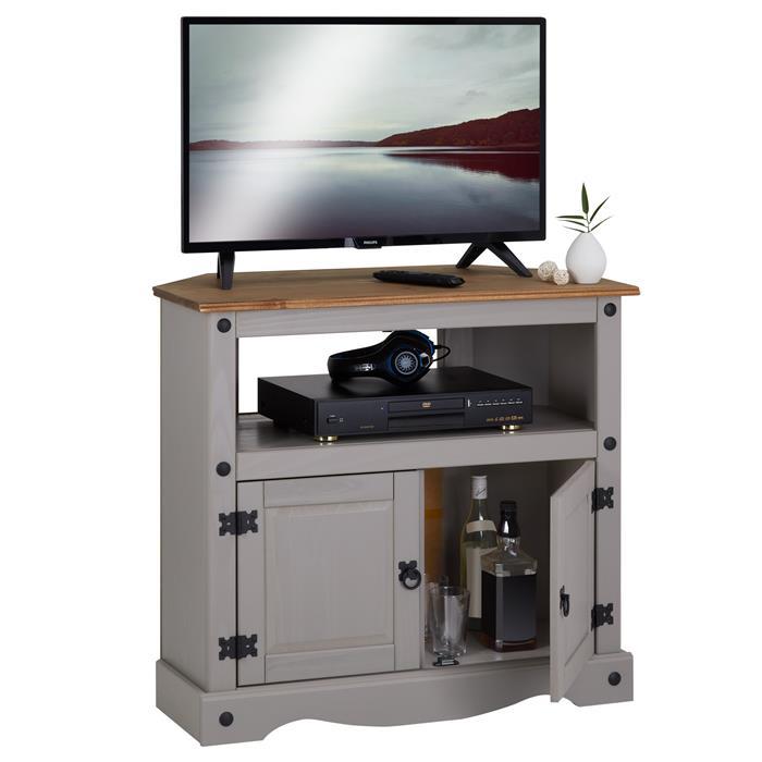Meuble TV RAMON avec 2 portes, style mexicain en pin massif gris et brun