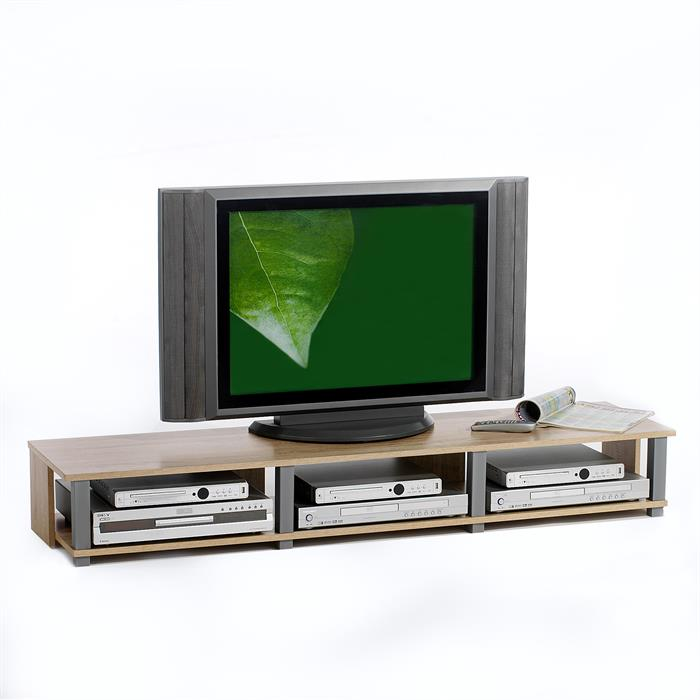 Meuble TV KIMI, 3 niches, décor chêne Sonoma