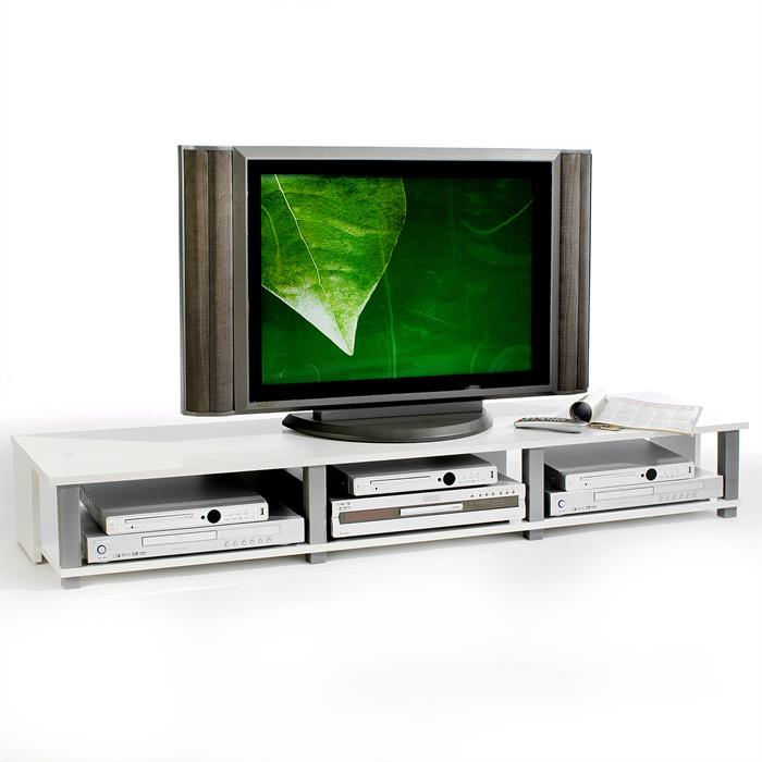 Meuble TV KIMI, 3 niches, blanc